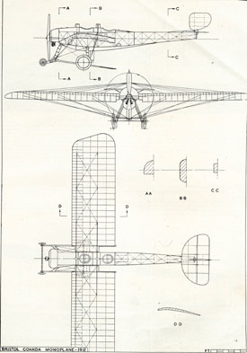 Plan drawing of Coanda monoplane (Bristol Aero Collection).