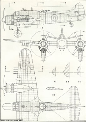 Plan drawing of Beaufighter (Bristol Aero Collection).