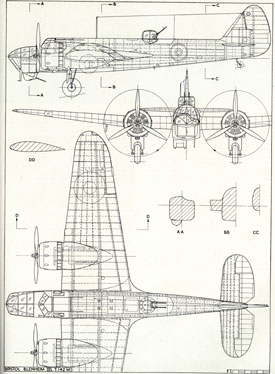 Plan drawing of Blenheim (Bristol Aero Collection).