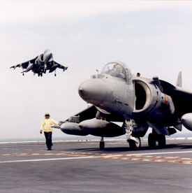 Harrier on HMS Invincible (Rolls-Royce plc).