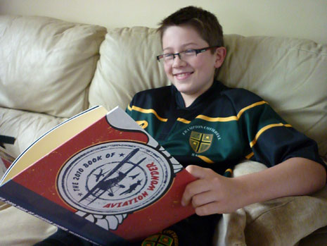 Eleven-year old Henry Smith from South Gloucestershire reading the book.