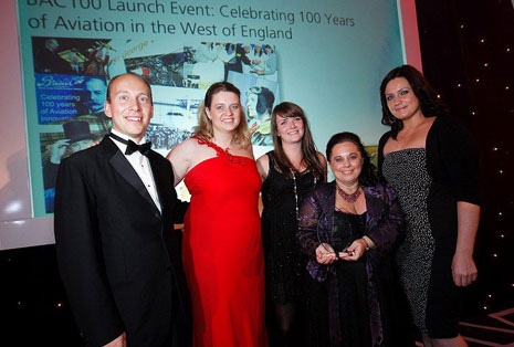 James Budgen, Katherine Bennett, Rachael Bloomer and Becky Farmer receiving the award from Lyanna Tsakiris (CIPR) at the PRide dinner at the Marriot Hotel in Bristol in October.