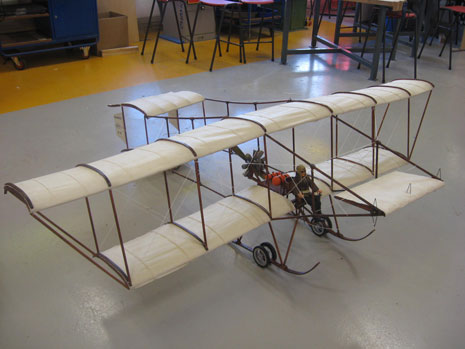 They have constructed a 1/6th scale model of a Bristol Boxkite which will be suspended from the ceiling in the college's reception.