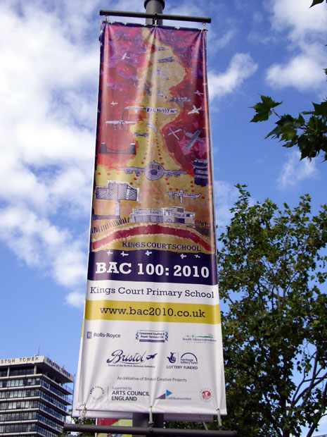 The six BAC 100 large-scale collages were available to view as banners and flags in Bristol city centre in September.