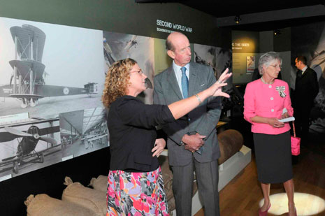 Katherine Hann (Exhibition Manager) with HRH and Mary Prior (Lord Lieutenant for Bristol) in the World War Two bunker.