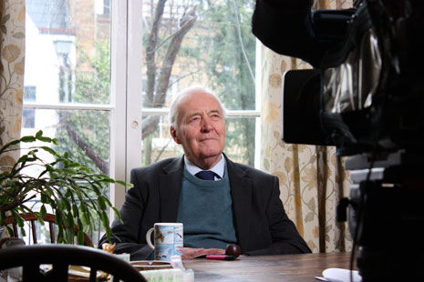 Tony Benn being interviewed for the programme.